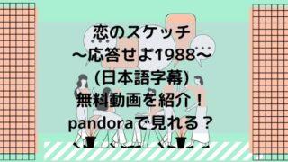 恋のスケッチ~応答せよ1988〜(日本語字幕)無料動画を紹介!pandoraで見れる?