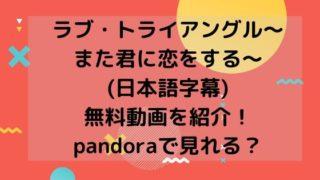 ラブ・トライアングル~また君に恋をする~(日本語字幕)無料動画を紹介!pandoraで見れる?